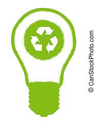 Light bulb and eco symbol inside. Alternative energy concept...