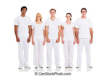 group of friends standing on white