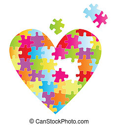 Puzzle heart vector background