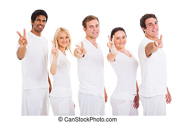 group of friends showing peace hand sign - group of smiling...