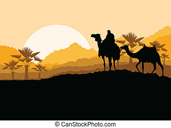 Camel caravan in wild desert mountain nature landscape...
