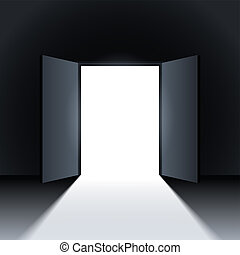 Open door. - Light in a room through the open door. Vector.