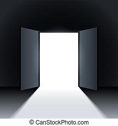 Open door. - Light in a room through the open door. Vector.