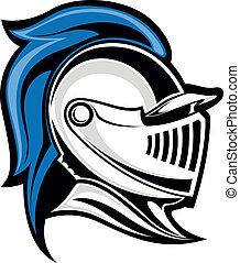 Medieval knight head in helmet Vector illustration