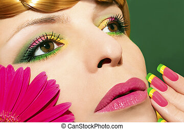 Maquillaje, gerberas