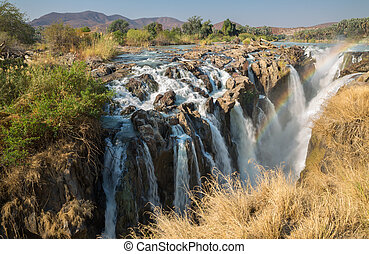 Epupa waterfalls - Closeup view of Epupa waterfalls in...