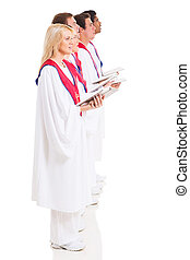 church choir singers with hymnal