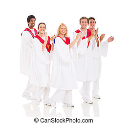 church choir performing - cheerful church choir performing...