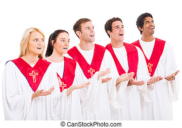 church choir singing on white background