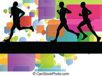 Marathon sport runners in colorful abstract background...