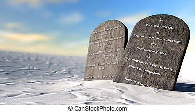 Ten Commandments Standing In The Desert - Two stone tablets...