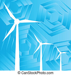 Clean energy concept with wind generators vector background