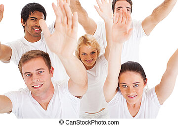 above view of multiracial friends raising hands