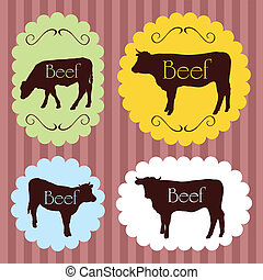 Beef cattle food labels illustration background - Beef...