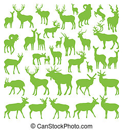 Deers collection silhouettes ecology vector - Deers...