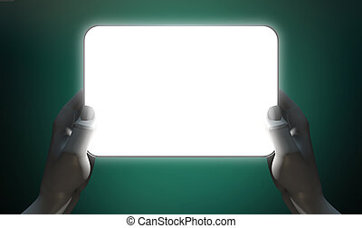 Hands And Illuminated Generic Tablet