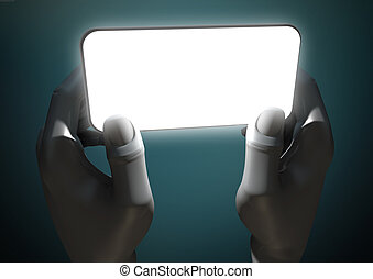 Hands And Illuminated Generic Smart Phone - A pair of grey...