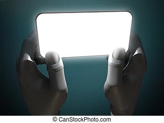 Hands And Illuminated Generic Smart Phone