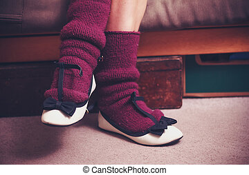 Close up on woman's woolen socks