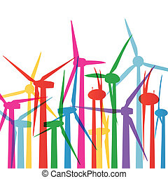 Colorful wind electricity generators and windmills detailed ecology