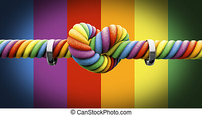 Tie The Knot With Rings Gay Marriage - A coarse rope in the...