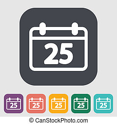 Calendar icon - Calendar. Single flat icon on the button....