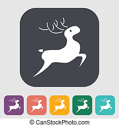 Deer icon - Deer. Single flat icon on the button. Vector...