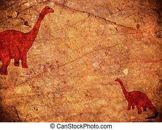 prehistoric background with dinosaur and copyspace