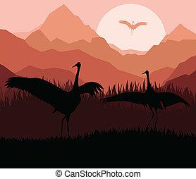 Crane in sunset vector background