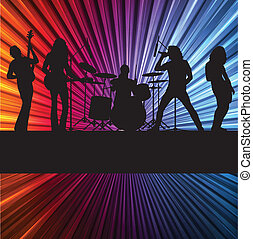 Rock band vector background with neon lights for poster
