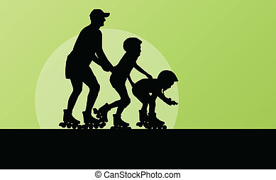 Family in roller skates vector background concept for poster