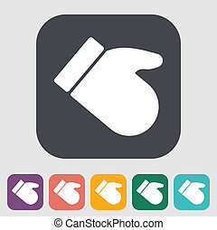 Mitten Single flat icon on the button Vector illustration