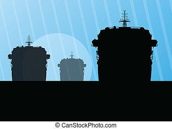 Navy military battleships with guns in ocean landscape...