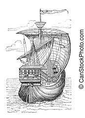 "Columbus ship - ""Ship of Christopher Columbus\"". Print from..."