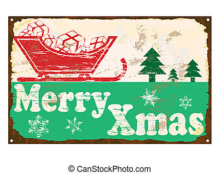 Merry Xmas Enamel Sign - Merry Xmas rusty old enamel sign