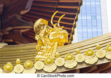 Jing An Golden Dragon Detail - Golden Dragon Head in Jing An...