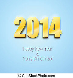 New year 2014 background gold numbers, vector illustration