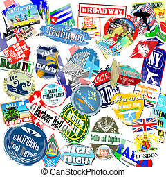 Travel stickers, stamps travel