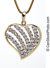 Golden heart shaped necklace with stones