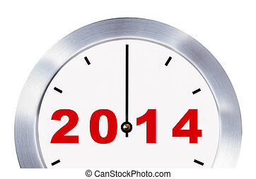 New year 2014 concept, clock closeup isolated with clipping paths.