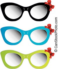 Colorful cat eye sunglasses with red bow