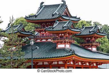 Traditional Japanese architecture at Heian Jingu shrine in...