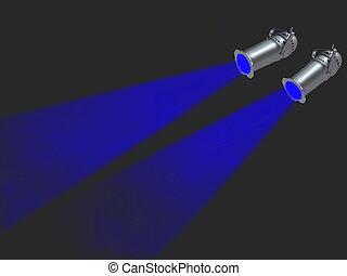 Two blue spot lights