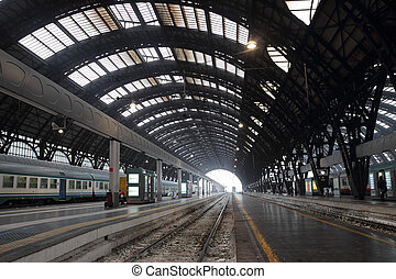 Milan Central station - the Central Train Station interior...