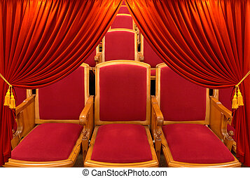 Curtain  - red window shades on a background a hall