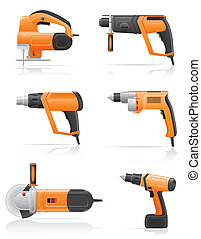 electric tools set icons vector illustration isolated on...