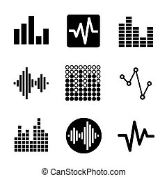 Music soundwave icons set - Music soundwave equalizer...