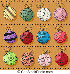 Christmas baubles set - Christmas retro style background...