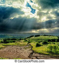 escuro, dramático, céu, sobre, montanha,...