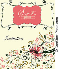 Invitation vintage card - Wedding card or invitation with...
